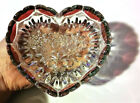 Vintage Crystal Glass Red Heart Flower Bowl Wedding Engagement Jewelry Tray Gift