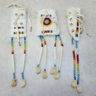 NICE 3 PIECE CUT BEADED BUCKSKIN NATIVE AMERICAN INDIAN LADIES HANGDOWN BELT SET