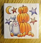 NEW Whipper Snapper Wood Mounted Rubber Stamp MU005 Cat with Pumpkins Halloween