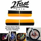 2FastMoto Spoke Wrap Kit Orange Black Skins Covers Wraps Spoked Rim Wheel Honda