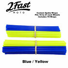 2FastMoto Spoke Wrap Kit Blue Yellow Custom Spokes Wheels Covers Wraps Yamaha