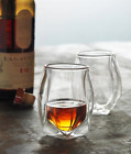 Whiskey Bourbon Scotch Liquor Double Wall Glass Set of Two Norlan Style FreeSHIP