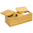 Bamboo Spice Salt  Pepper Box  Magnetic Hinged Lid  Pot Includes Spoons  MW
