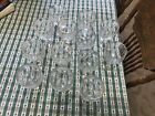 collectable stemmed wine glasses with grape pattern and gold trim