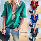 Women Floral V Neck Short Sleeve Blouse T Shirt Summer Boho Peasant Top Tee Plus