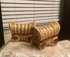 Awesome Vintage Retro Salt and Pepper Shakers covered wagons Stagecoach