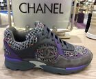 CHANEL PURPLE GRAY TWEED SUEDE SNEAKERS SHOES TRAINERS 38 PRE OWNED