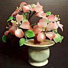 Vintage Jade Coral Glass Bonsai Tree Japanese Oriental Asian Pink Green Beads