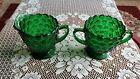 Anchor Hocking Forest Green Bubble Cream and Sugar Set, 1940-1965