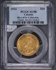 1914 G$10 CANADA TEN DOLLAR GOLD COIN - RIVE D'OR *PCGS AU 58* LOT#K969