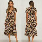 Womens Leopard Print V Neck Short Sleeve A-Line Midi Wrap Tea Dress Summer Party