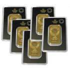 Lot of 5 Gold 1 oz RCM Bars Royal Canadian Mint Gold .9999 Fine Bank Wire Only