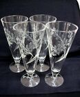4 LIBBEY GLASS ETCH FROSTED WHEAT DESIGN PILSNER BEER GLASSES BAR WARE