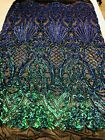 Iridescent Green 4 Way Stretch Sequin Fabric Spandex Mesh Prom Gown By The Yard