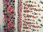 Double border flower flora print rayon fabric white 56 wide sold bty