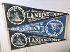 Three 3 Vintage Apollo 11 First Moon Landing Pennants Blue 1