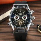 JARAGAR Date Army Military Men Skeleton Auto Mechanical Wrist Watches Rubber