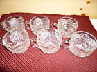 Set 6 SANDWICH PRESSED GLASS PUNCH CUPS Coffee Tea mugs Anchor Hocking?Medallion