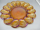Vintage Indiana AMBER Iridescent Depression Glass Hobnail DEVILED EGG Plate Tray