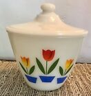 Vintage Fire-King Oven Ware Tulips Grease Bowl With Lid