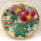 BB Vintage Satsuma Button Colorful Floral with Gold Pretty 13 16