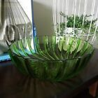 Vintage Green Swirl Depression Glass Serving Salad Bowl Large Heavy