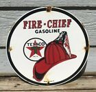 VINTAGE 1951 TEXACO FIRE CHIEF PORCELAIN GAS STATION PUMP SIGN