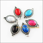12 New Oval Flower Mixed Charms Turquoise Tibetan Silver Tone Pendant 9x165mm