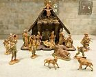 Vintage Fontanini Nativity Set Depose Italy 15 Piece Creche Set Spider Mark