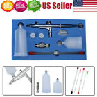 Gravity Feed Dual Action Airbrush Kit Set Tool 02mm 03mm 05mm Needles Nozzles