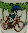 Vintage Anchor Hocking Fire King Snoopy Pedal Power Milk Glass Coffee Mug #4