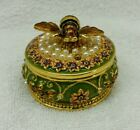 Trinket Box Honey Bee Accented with Decorative Pearls Flowers Enamel