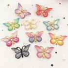 10PCS Resin Cute Colorful Butterfly Flatback rhinestone wedding 1 hole accessory