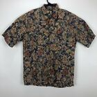 Tori Richard Mens Hawaiian Shirt Made In USA Abstract Floral Shirt Tan Medium