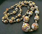 Vintage Hand Knotted Venetian Murano Glass Wedding Cake White Bead Necklace 27