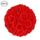 5 Pcs 984 Satin Flower Balls Rose Ball Wedding Decoration Red Color NEW