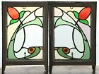 Pair of Antique Stained Glass Windows Six Color Stunning Design 4420