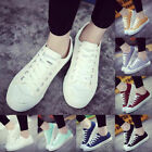 Womens Mens Classic Canvas Laced Up Casual Sneakers Low Top Flats Sports Shoes