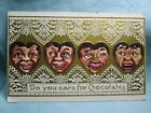 Vintage Black Americana Do You Care For Chocolates Embossed Postcard
