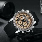 HEMSUT Chronograph Timer Date Quartz Waterproof Rubber band Men's Wrist Watches