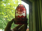 1870s RUBY RED CUT TO CLEAR BOHEMIAN GLASS 2 PC CANDLE LAMP ETCHED ELK