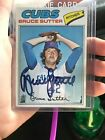 1977 Topps Bruce Sutter Chicago Cubs Baseball Card With Autograph Signed In Case