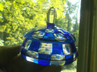 ANTIQUE PRETTY GLASS COVERED POWDER OR TRINKET JAR WITH BLUE  CLEAR SQUARES