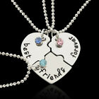 Stainless Steel Heart Shape Matching 3 Piece Best Friends Forever Necklaces Set