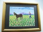 Vintage Folk Art Print JOE SHARP Vet PLOWING CORN Mule Field Madisonville TN