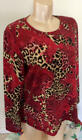 Chicos Weekends Red Paisley Animal Print Cotton Shirt Top SZ 2 L 14