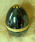 French Opaline Glass Black Egg Hinged Box with Ormolu Fittings and Gilding 6