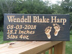 Personalized Custom Carved Wood Sign Baby Feet birth born girl nursery weight