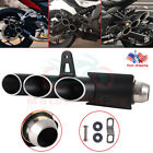 Universal 51mm Exhaust Pipe Three-outlet Tail Pipe For Motorcycle System New