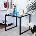 Living Room Modern Square Side End Table w Tempered Glass Top Home Furniture US